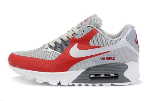 Only$72.06 NIKE AIR MAX 90 HYPERFUSE TONAL RED GREY WHITE Free Shipping!
