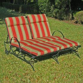 Mandalay Mesh Wrought Iron Double Patio Chaise Lounge