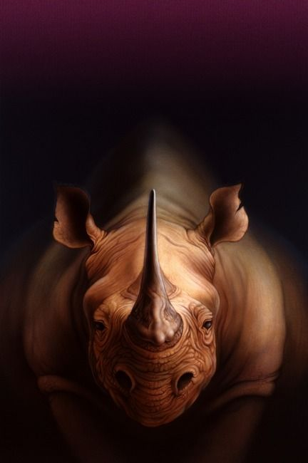 """Legend"" by Jerry LoFaro, henniker, nh // Acrylic painting, digitally remastered. Inspired by the rhino horn's legendary aphrodisiacal powers (look close). Appeared in the late, great Omni Magazine. // Imagekind.com -- Buy stunning, museum-quality fine art prints, framed prints, and canvas prints directly from independent working artists and photographers."