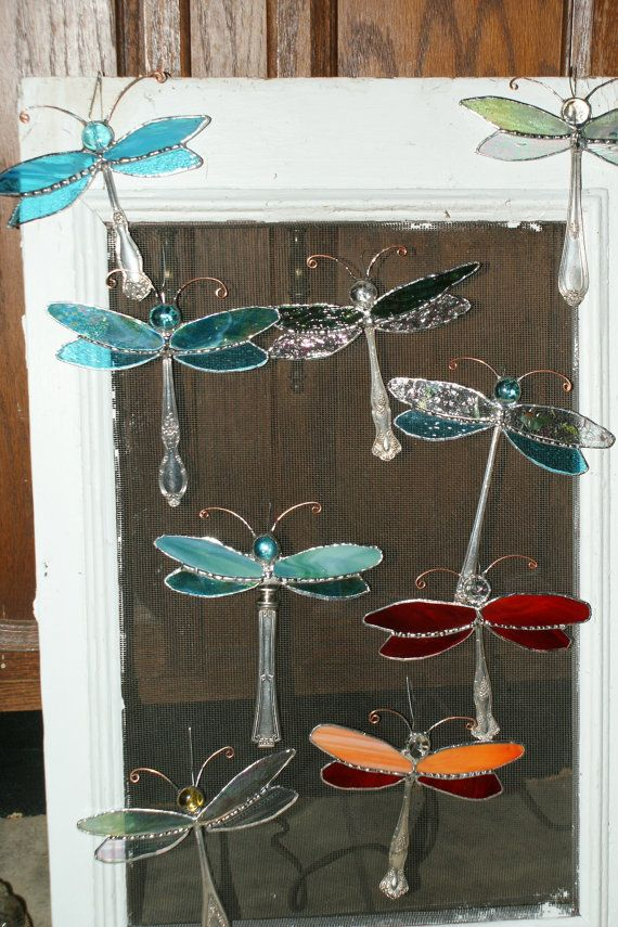 Stained Glass Dragon Fly with silver plated body, hanging