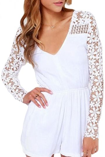 White V Neck Hollow Out Sheer Sexy Chic Ladies Romper - PINK QUEEN