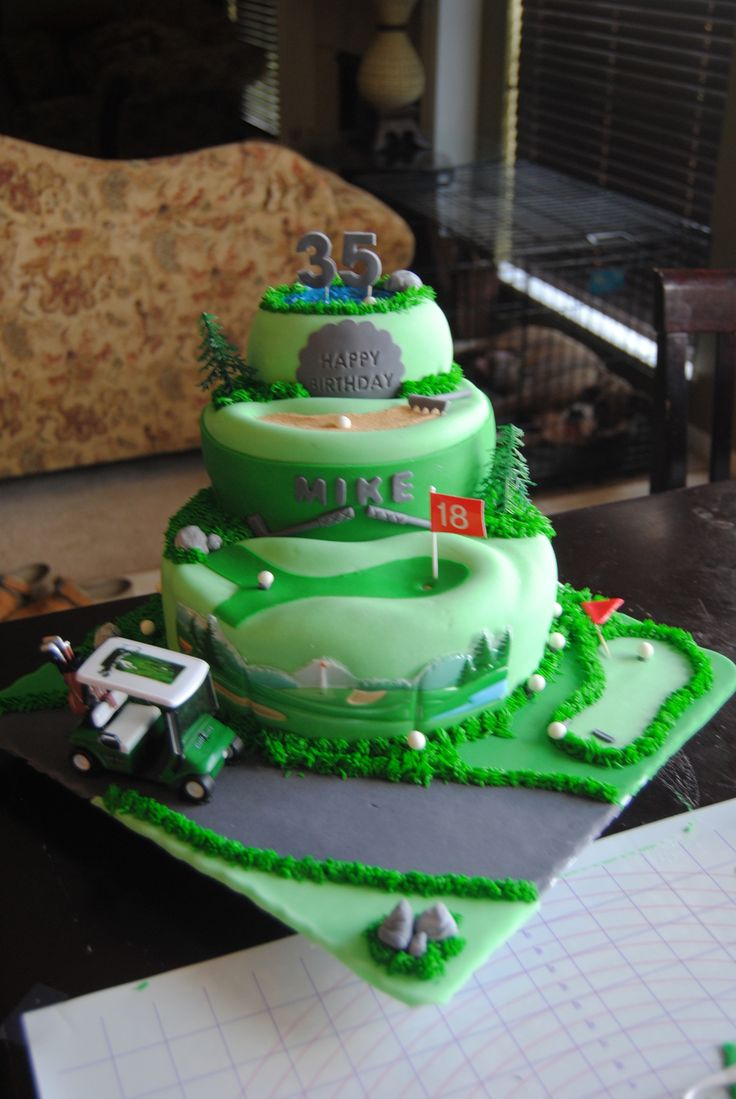 Golf Course Multi-Scene Cake Hand made balls, tees, pond, sand pit, rake etc. Cart, trees and golf back drop are the only things I didn&#...