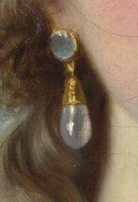 Self Portrait in straw hat, after 1782, Elisabeth Vigree le Brun. Lovely little drop earring.
