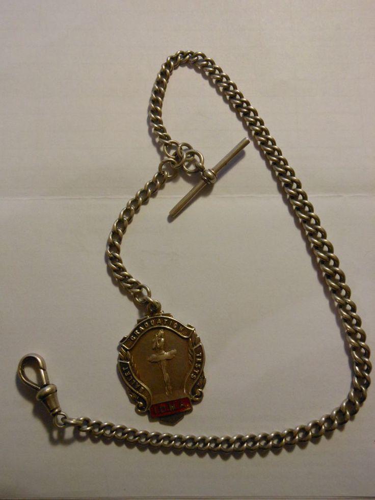 Catena porta orologio tasca argento ciondolo 1955 Silver watch chain V3 (*)