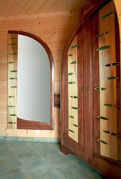 6271 - Meble drewniane do przedpokoju, szafa i lustro na wymiar, artystyczne unikatowe na indywidualne zamówienie.
