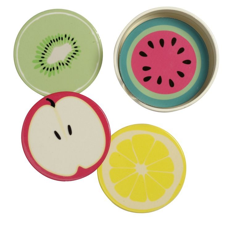 Set of 4 ceramic fruit coasters from Transomnia