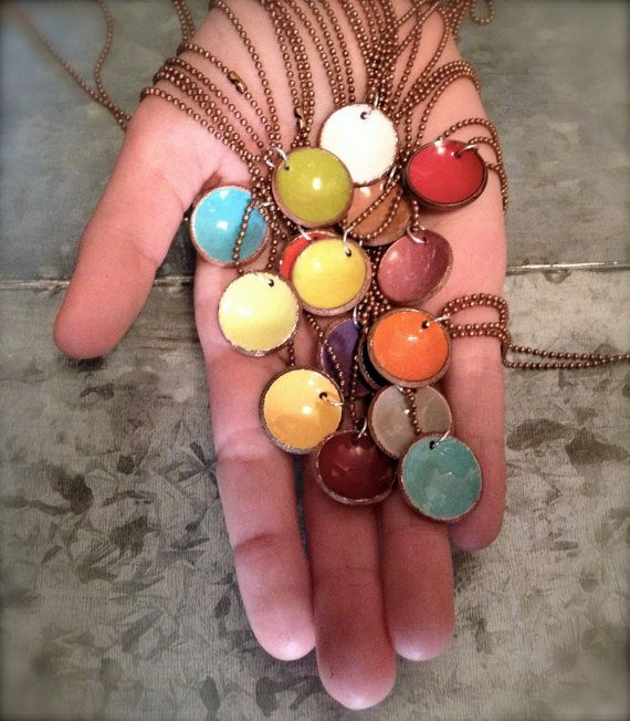 Penny Candy - Upcycled Enameled Penny Necklace - Recycled - Copper - Coin - Lucky Penny by Gina Magnussen on Etsy