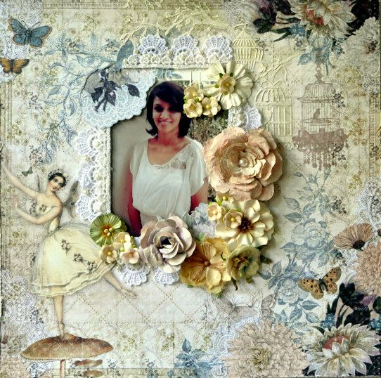A layout of yours truly using the divine fairy belle collections, some prima flowers and some handmade ones