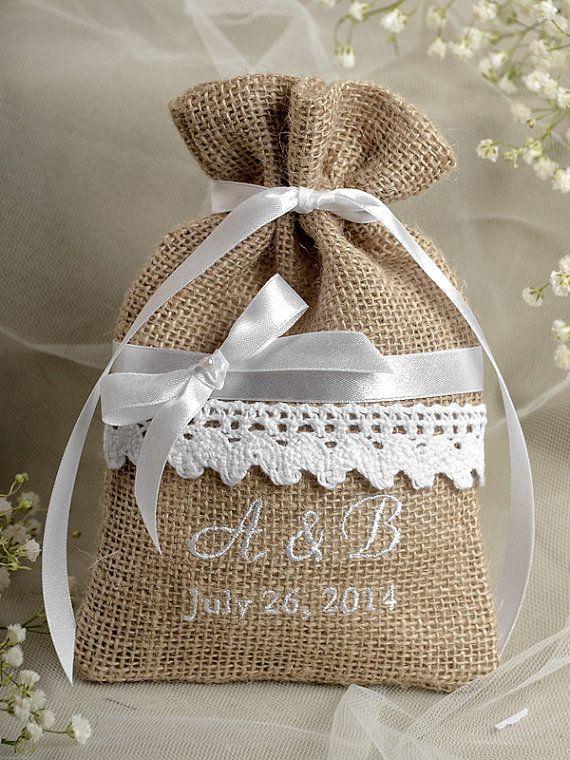 Rustic Burlap Wedding Favor Bag  Lace  Wedding