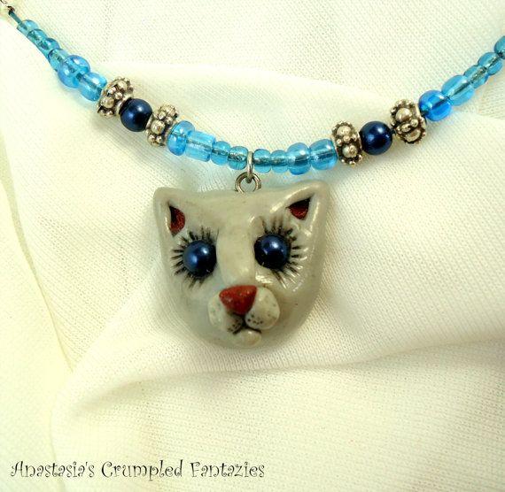 Grey kitty pendant Polymerclay cat necklace by CrumpledFantazies