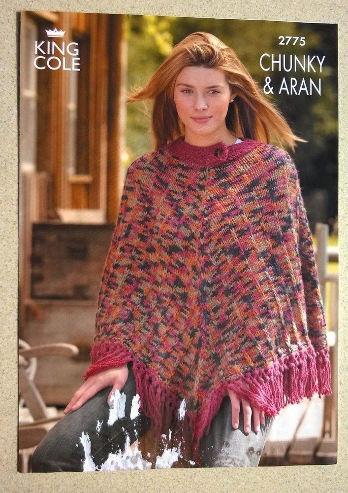Ponchos King Cole 2775 Knitting Pattern Leaflet Lady s Chunky & Aran