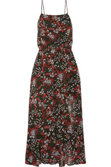 Maje Ruffle-trimmed printed chiffon midi dress
