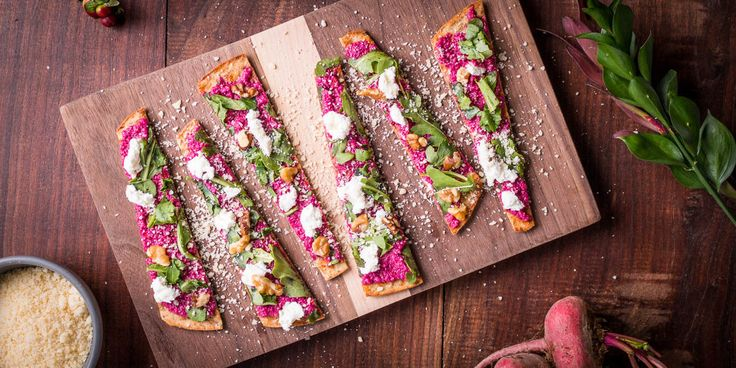 Beet Puree, Goat Cheese, and Walnut Flatbread - Angelic Bakehouse