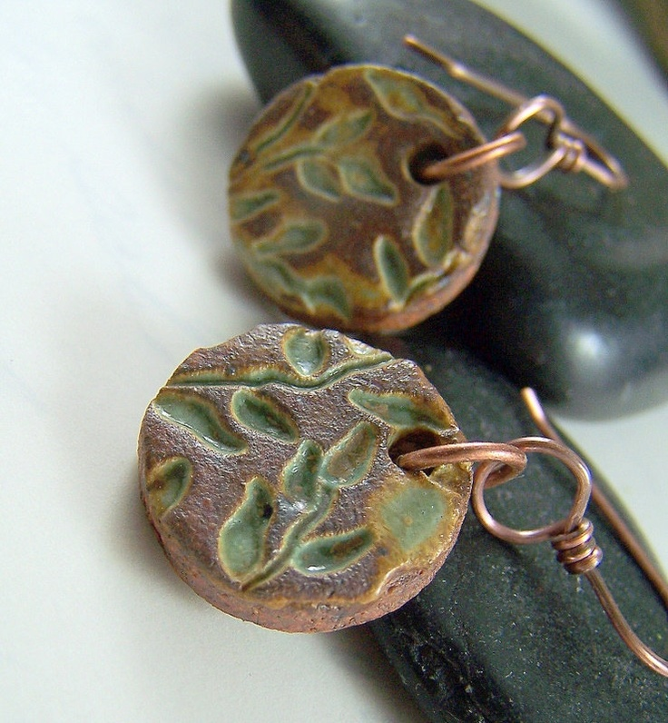 Stoneware Pottery Earrings, Ceramic Pottery Jewelry, Copper Jewelry, Handmade Earrings, Woodland Nature Jewelry, Leaf Jewelry - Willow. $24.00, via Etsy.
