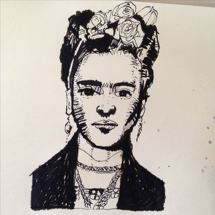 Frida Khalo pen and ink from my sketchbook