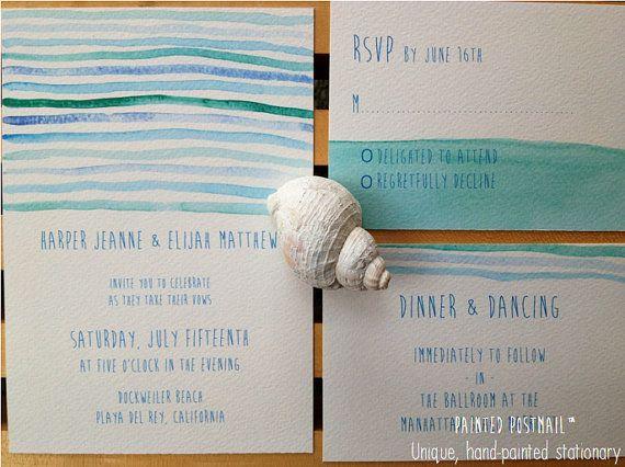 Seaweed Wedding Invitation // Coastal Wedding // Ocean Wedding // Turquoise // Handmade Wedding Invitations on Etsy, $56.38 CAD