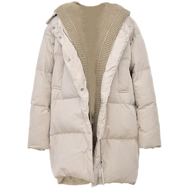 Beige Patchwork Warm Winter Hooded Womens Long Quilted Coat (€63) ❤ liked on Polyvore featuring outerwear, coats, jackets, coats & jackets, sweaters, beige, long beige coat, long coat, pink coat and long pink coat