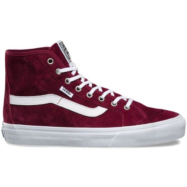 Vans Black Ball Hi SF (425 DKK) ❤ liked on Polyvore featuring shoes, sneakers, burgundy, black trainers, black shoes, leather sneakers, black hi tops and vans high tops