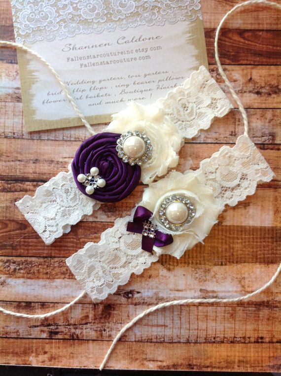 Wedding garter SET / Plum / Design your own / wedding garters/ bridal garter/ lace garter / toss garter / vintage lace garter on Etsy, $24.99