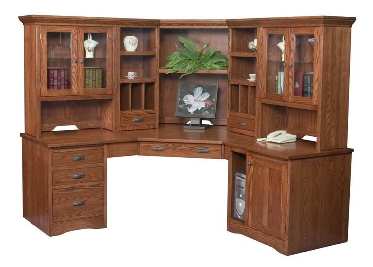 Large Corner Computer Desk Hutch Bookcase Home Office Solid Woo