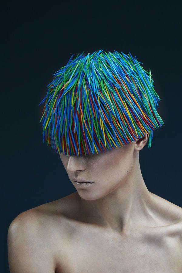 Prickly Toothpick Headdress Photography : hair art photography