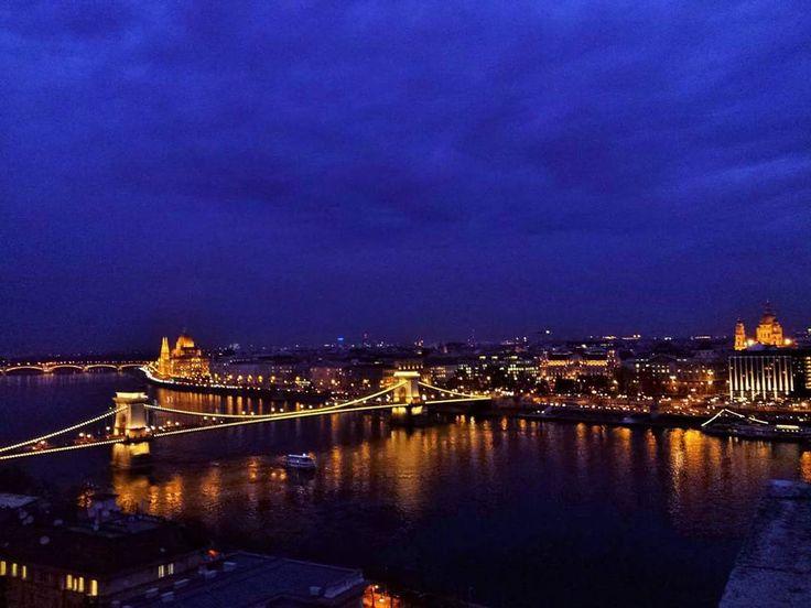 Budapest night skyline.