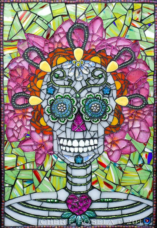 Day of the Dead Sugar Skull mosaic - Giclée Fine Art Print on Etsy, $35.00