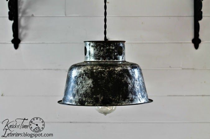 Repurposed milk can pendant light via knick of time http for Repurposed milk cans