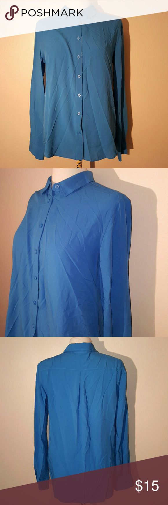 Uniqlo Blue Button Down Blouse This is a size medium button down is great condition. All buttons are attached.  No trades. Uniqlo Tops Button Down Shirts
