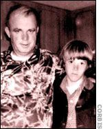 Young Steven Stayner here with his kidnapper Kenneth Parnell was abducted from Merced, California at the age of seven and held until he was 14, when he escaped and rescued another victim, Timothy White,