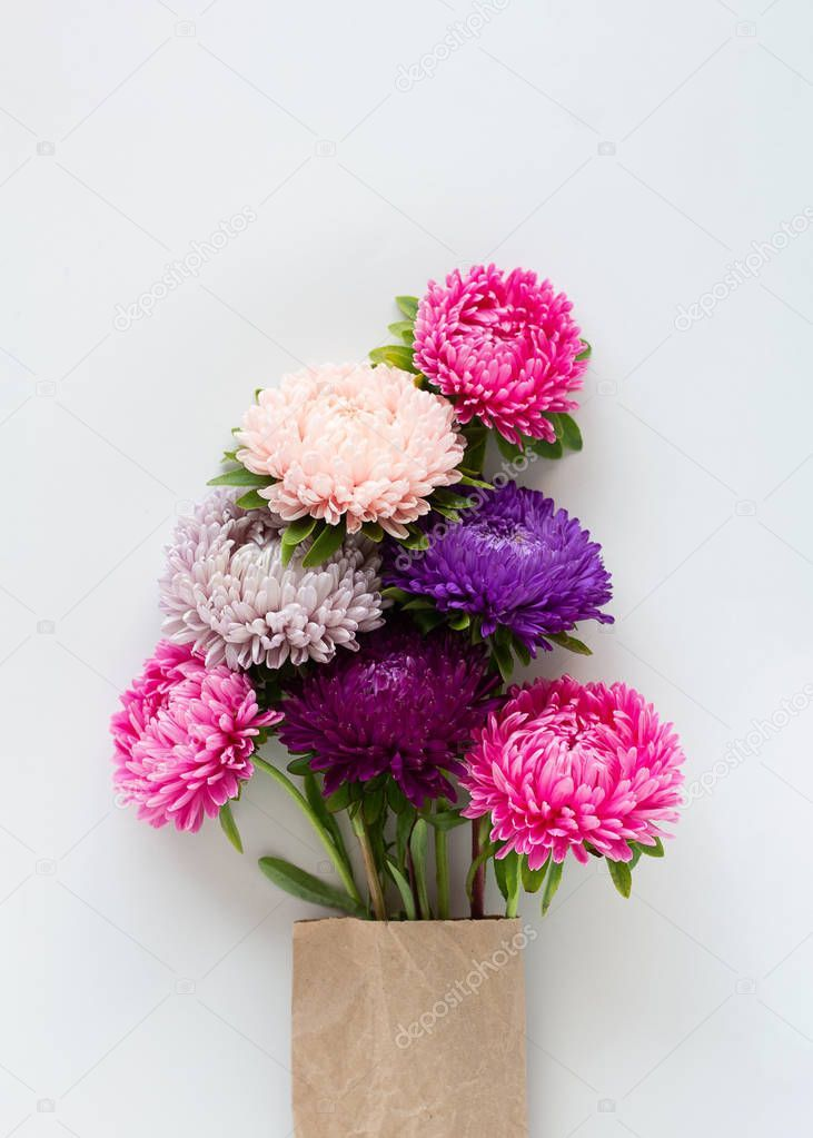 Colourful Asters Flowers Bouquet In Craft Paper Stock Photo Affiliate Flowers Bouquet Colourful Asters In 2020 Aster Flower Stock Flower Flowers Bouquet