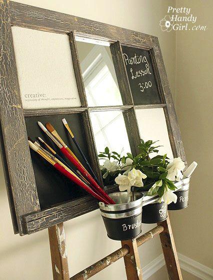 repurposing old windowsCrafts Ideas, Chalkboards Painting, Pretty Handy, Inspiration Boards, Artists Inspiration, Chalk Boards, Old Windows Frames, Blackboard Painting, Handy Girls