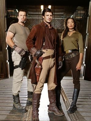 Serenity! and TV series FireFly! l2r: Adam Baldwin, Nathan Fillion and Gina Torres (yes, and most of these actors are on some of your fave shows NOW)