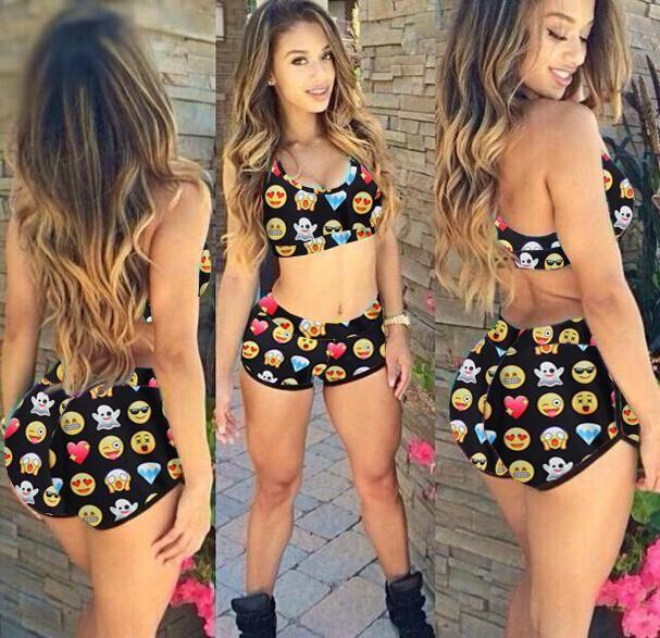 New 2015 Women Summer Conservative Fashion Sexy QQ Expression Print Bikini Swimsuit Tankinis Set Emoji Sets Swimwear from Fashion2014,$13.62 | DHgate.com