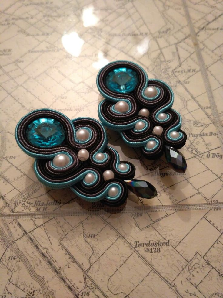 Soutache 💙 earrings 💙 aquamarine 💙 pearls 💙 black drops