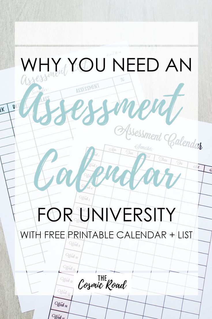 Are you ready for assessments this semester? Get organised by using this free printable assessment calendar and list so you never miss a due date!