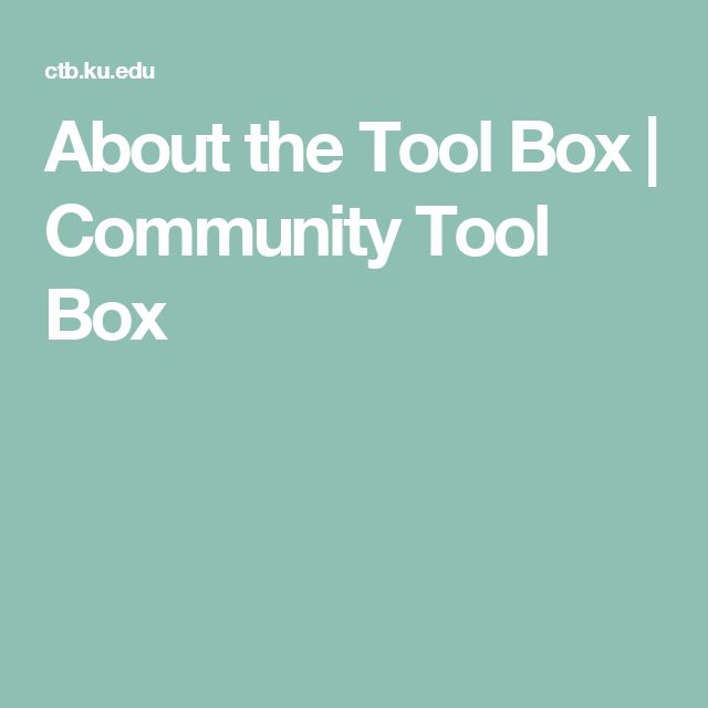About the Tool Box | Community Tool Box