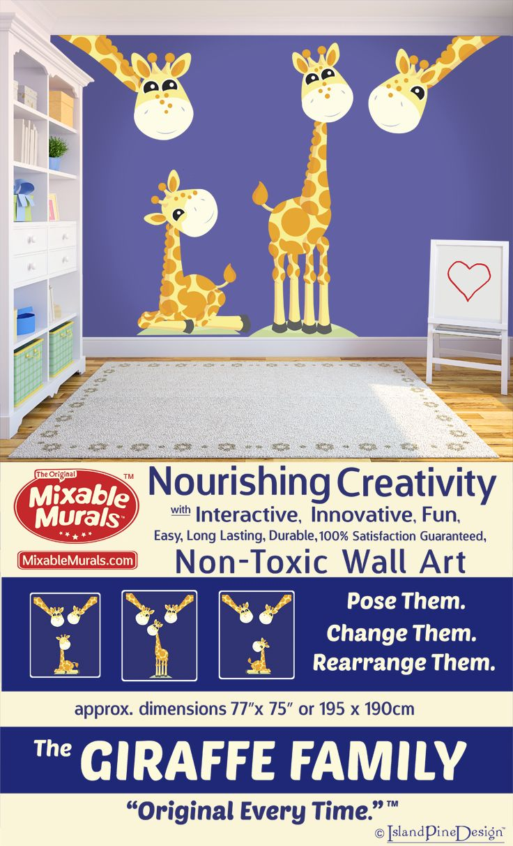 Decorate and encourage children's creativity with non-toxic interactive wall sticker idea kits from Mixable Murals. New and innovative in kids decorating ideas. Introducing The Giraffe Family. -100% Satisfaction Guaranteed -Durable -Non Toxic -Long Lasting -High Quality Materials -No Mess -No Residue -Easy To Use -No Tools Required -Tear Resistant -Stretch Resistant -Wrinkle Resistant -Boredom Resistant -Always Original. Creative fun for the whole family. http://www.mixablemurals.com