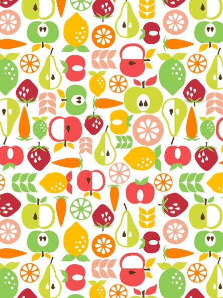 fruit pattern by alison tauber: I love the composition of these vector shaped fruits. I think the colours all compliment each other very well they are bold and positive feel.
