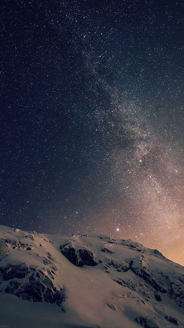 雪山と銀河 iPhone5 壁紙