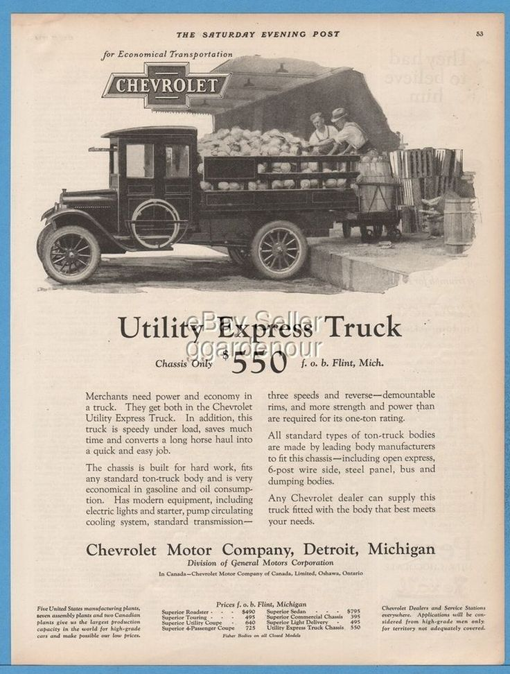 1924 Chevrolet Utility Express Truck Stake Bed Chassis $550 General Motors GM Ad