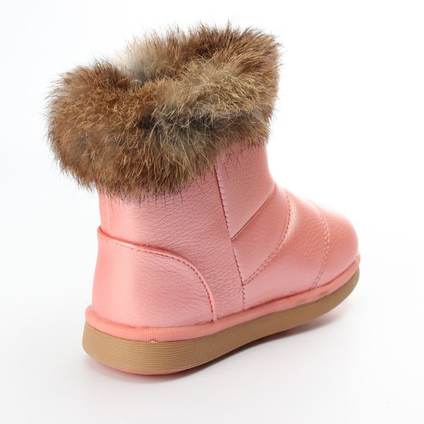 Children Girls Real Rabbit Fur Pu Leather Shoes Winter Warm Snow Boots