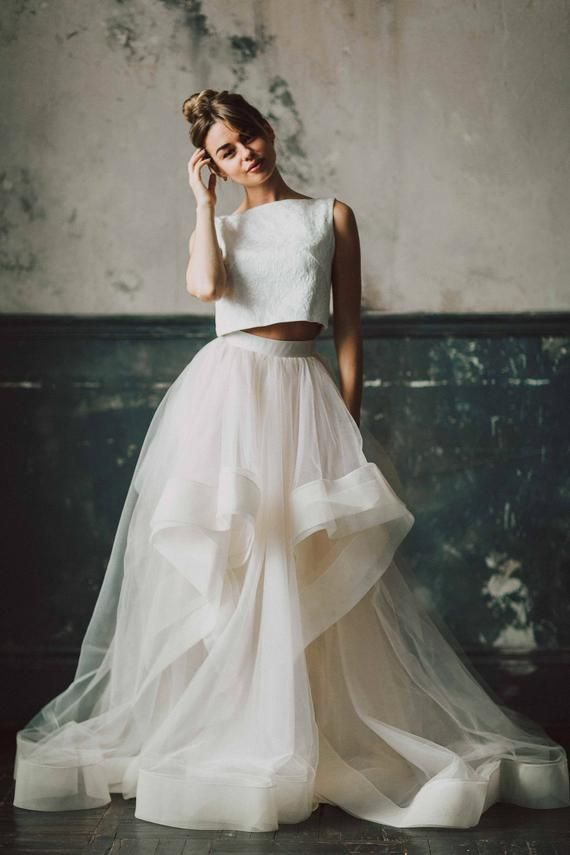 Ready Or Not Skirt By Boom Blush Unique Two Piece Wedding Etsy Wedding Dress Separates Crop Top Wedding Dress Two Piece Wedding Dress