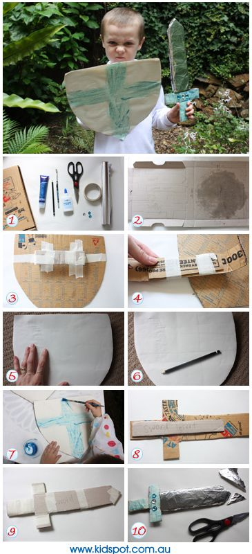 How to make a knight's costume from a pizza box