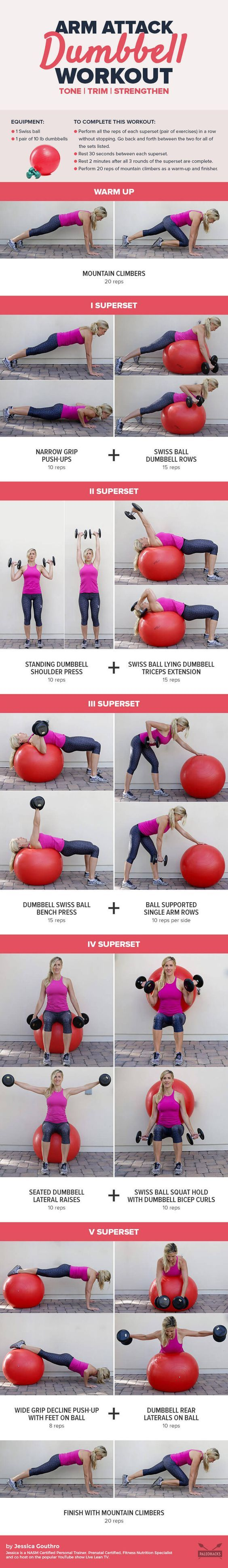 It's a common misconception that it's possible to lose arm fat through spot reduction - that a couple of curls and tricep exercises will tone up arms. Get the workout here: http://paleo.co/dumbbellarmwod