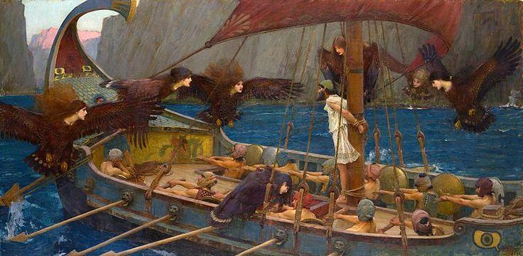 WATERHOUSE - Ulises y las Sirenas (National Gallery of Victoria, Melbourne, 1891. Óleo sobre lienzo, 100.6 x 202 cm) - Siren (mythology) - Wikipedia