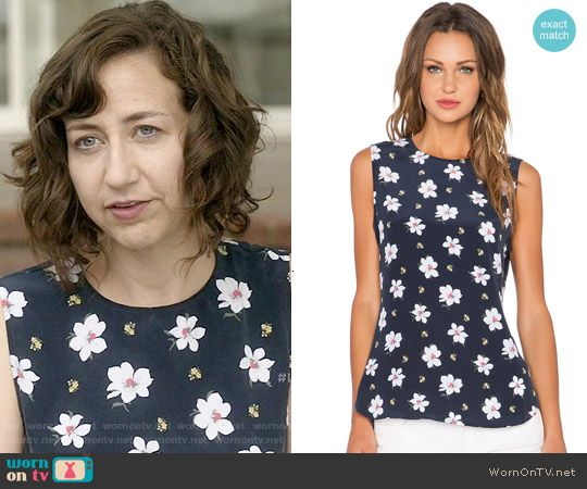 Carol's navy floral sleeveless top on Last Man on Earth. Outfit Details: http://wornontv.net/52631/ #LastManOnEarth