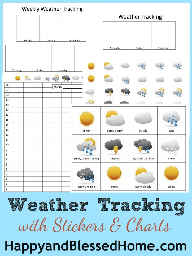 FREE Weather Tracking Carts and Stickers - includes weekly and monthly tracking from HappyandBlessedHome.com #FREEprintables #Preschool Activities