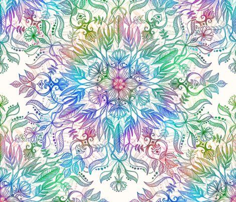Nature Mandala in Rainbow Hues fabric by micklyn on Spoonflower - custom fabric
