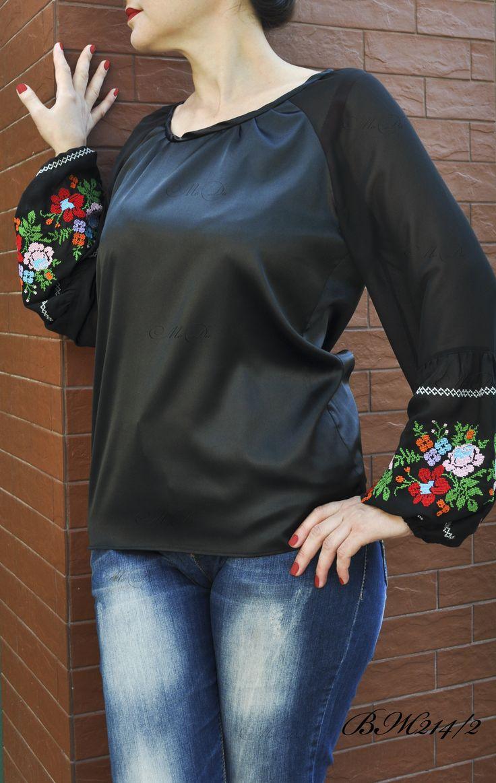Изящная блуза с вышивкой арт ВЖ214/2, материал атлас+шифон